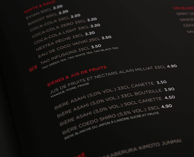 Mise en page de cartes menus sushi