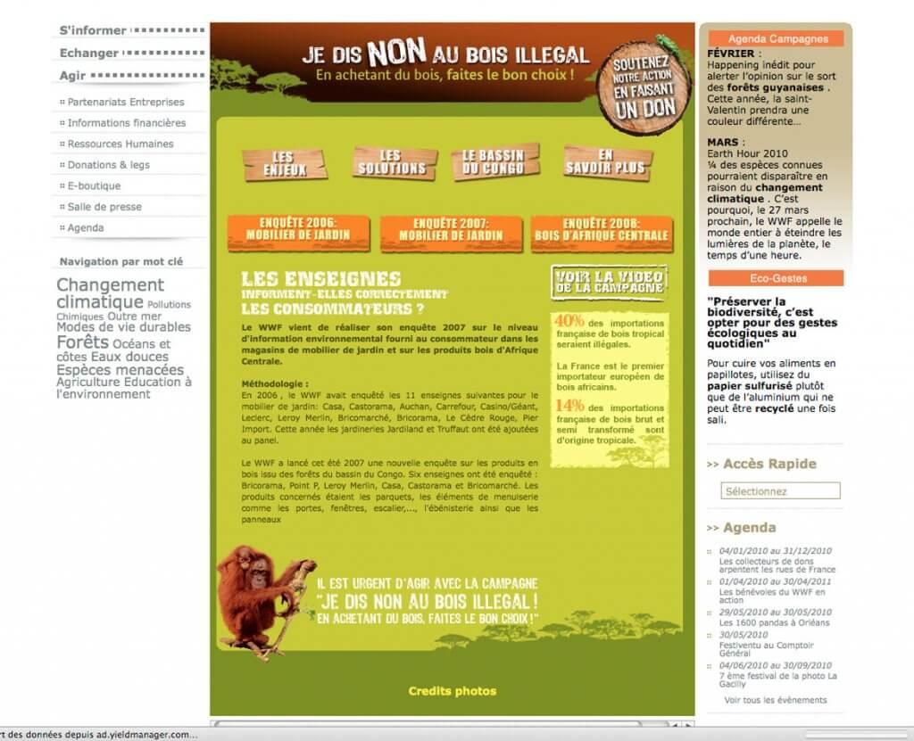 Habillage WEB pour WWF bois illégal