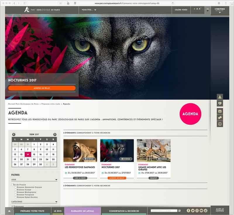 Création bannière Page web Nocturne parc zoologique